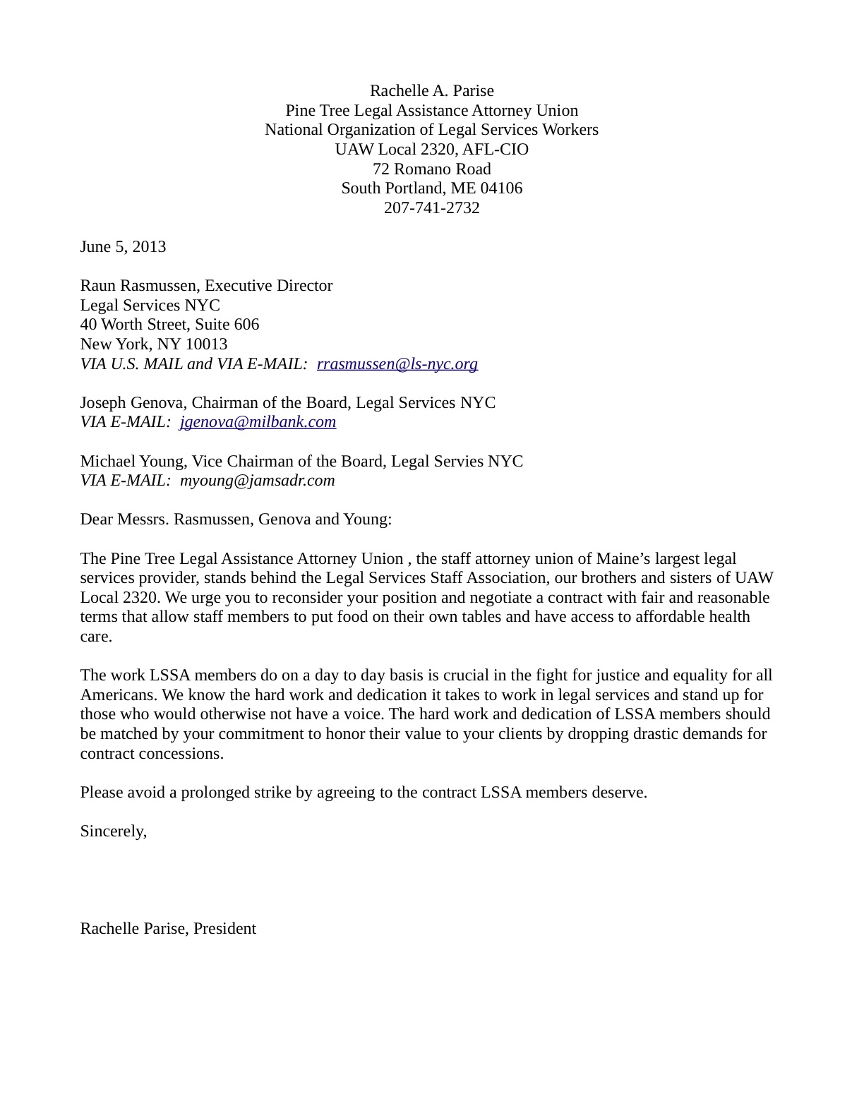 Pine Tree Legal Assistance Attorney Union Letter Of Support  Legal
