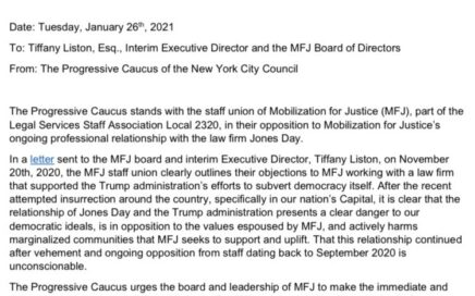 NYC City Council Progressive Caucus to MFJ Management: Sever Ties with Jones Day